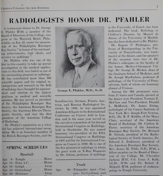"""Radiologists Honor Dr. Pfahler"""