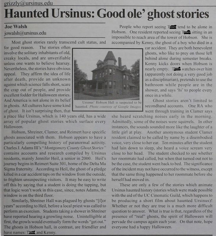 Haunted Ursinus: Good Ole' Ghost Stories